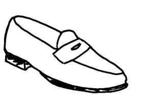 Penny Loafer mit dem charakteristischen Loch in der Passe, in die ein Penny passt